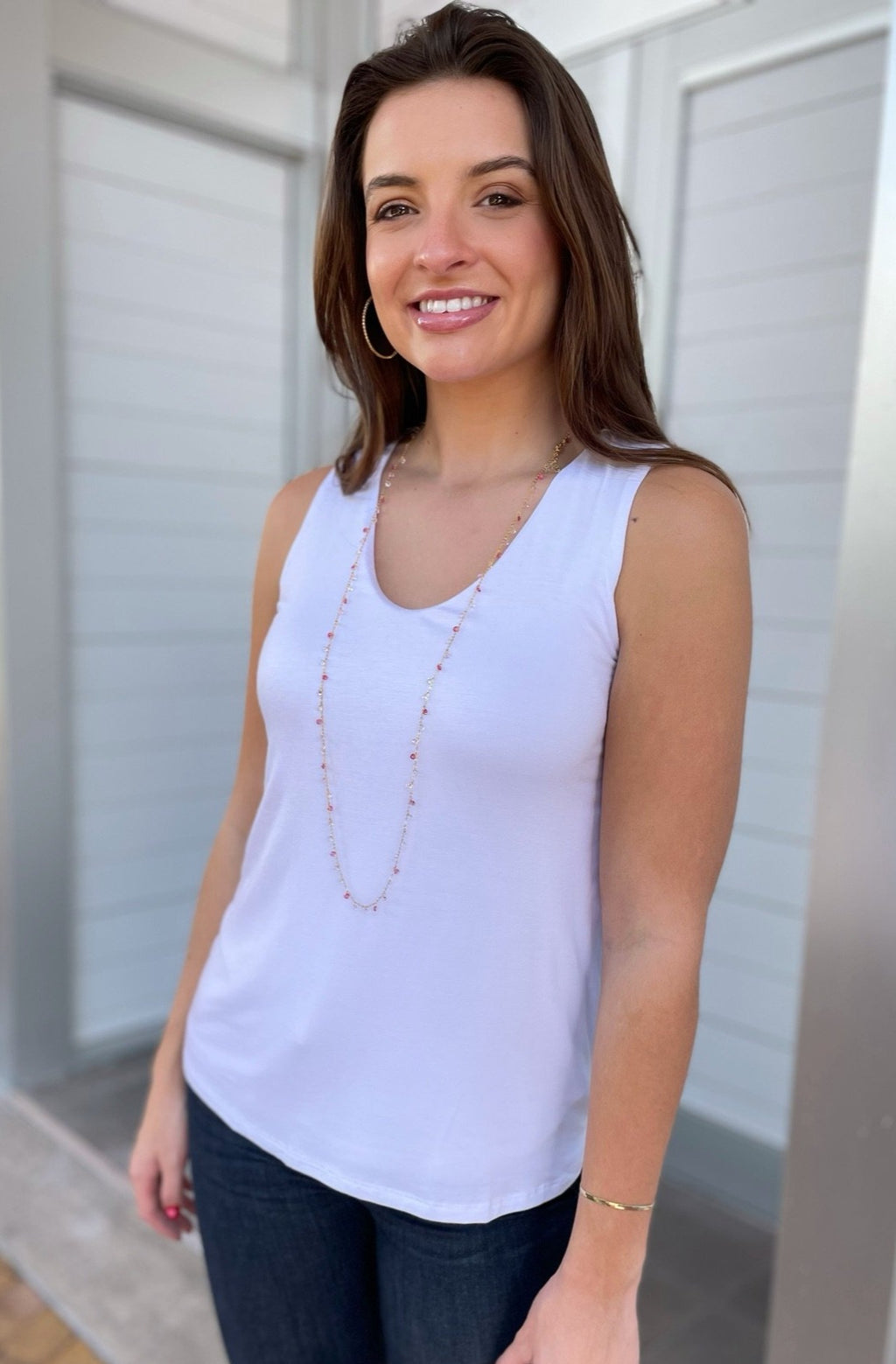 Double Layer Tank in White