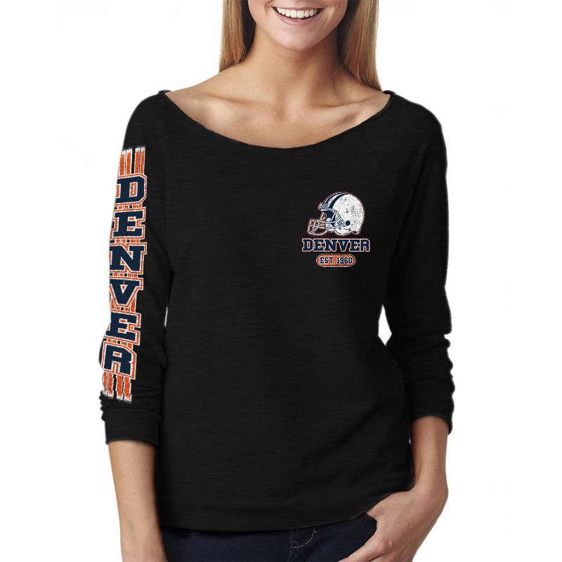 Women's Game Day Football French Terry Off-Shoulder 3/4 Top