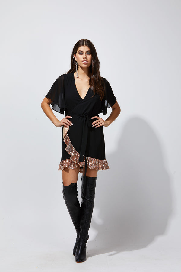 MALI WRAP DRESS - BLACK / ROSE GOLD