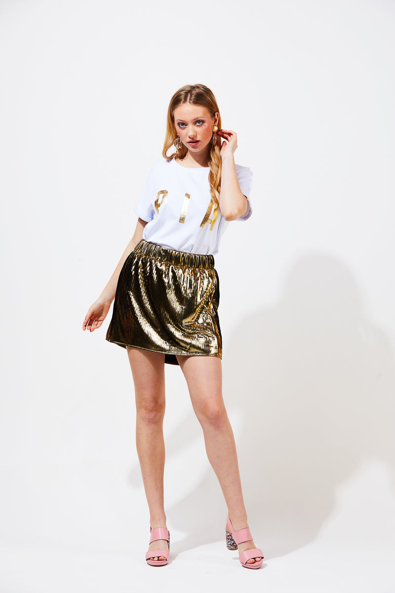 CLAIRE SKIRT - GOLD METALLIC