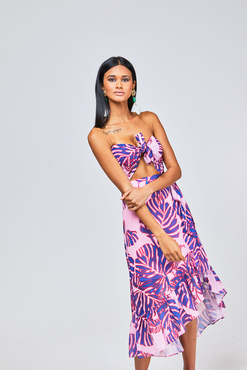 ZEISHA TIE TOP - PINK PALM PRINT