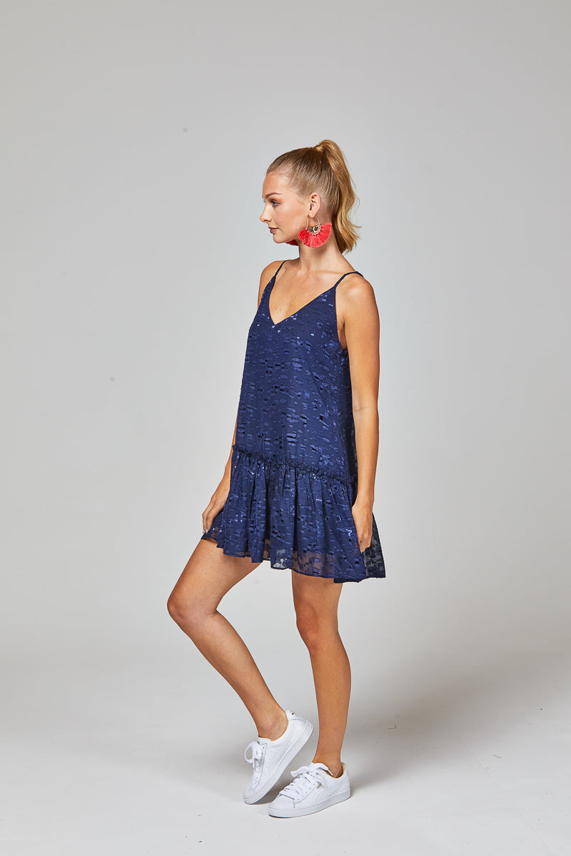 QUINN DRESS - NAVY BURNOUT