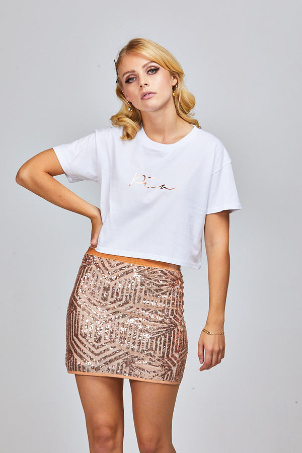 MYLER CROP WHITE - PIA ROSE GOLD