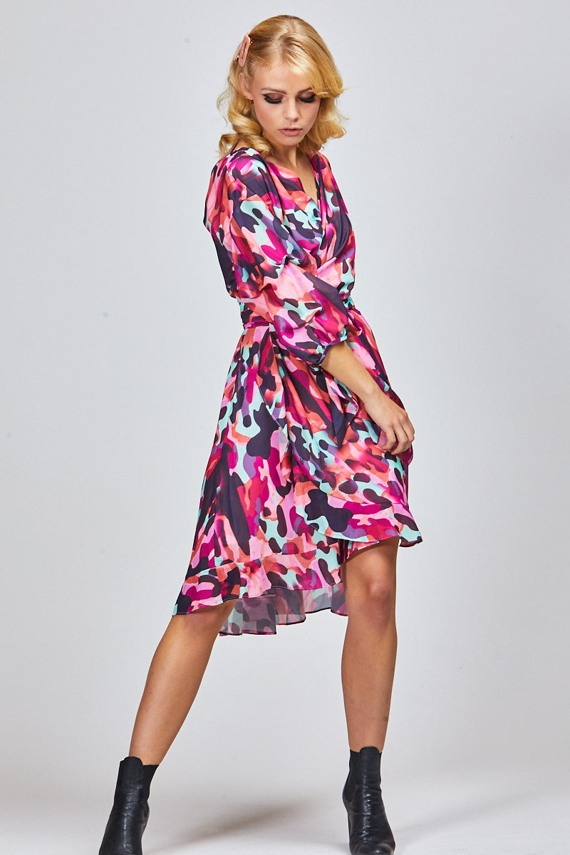 ADDI WRAP DRESS - BLUSH CAMO