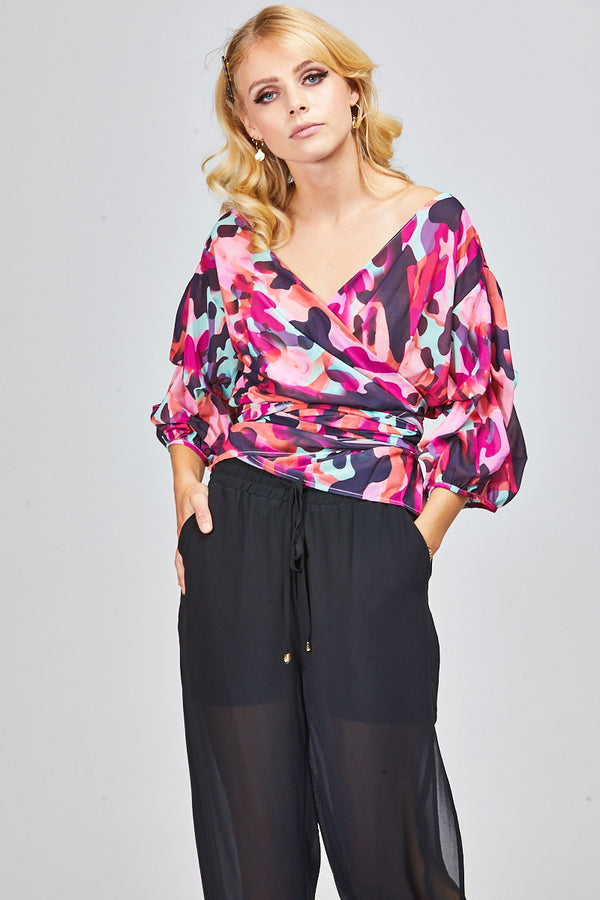 ADDI WRAP TOP - BLUSH CAMO