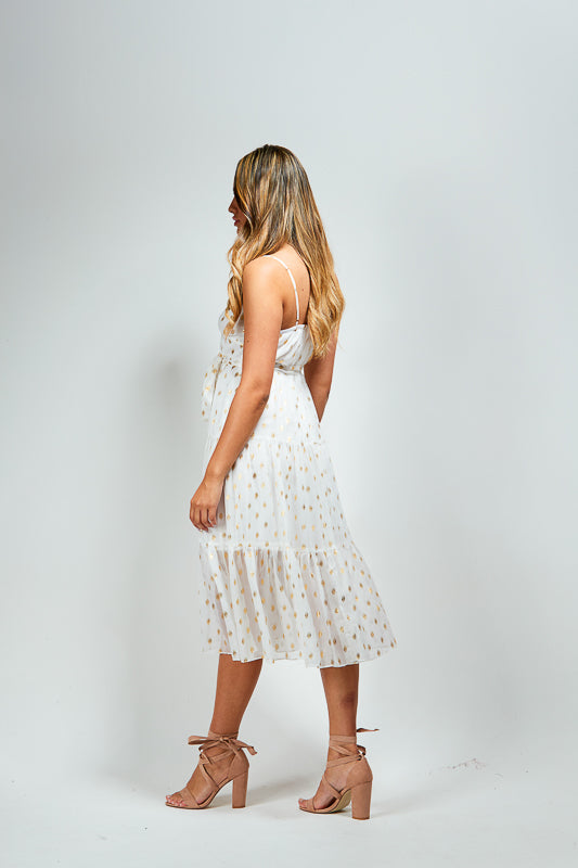 TILLY DRESS - WHITE / GOLD