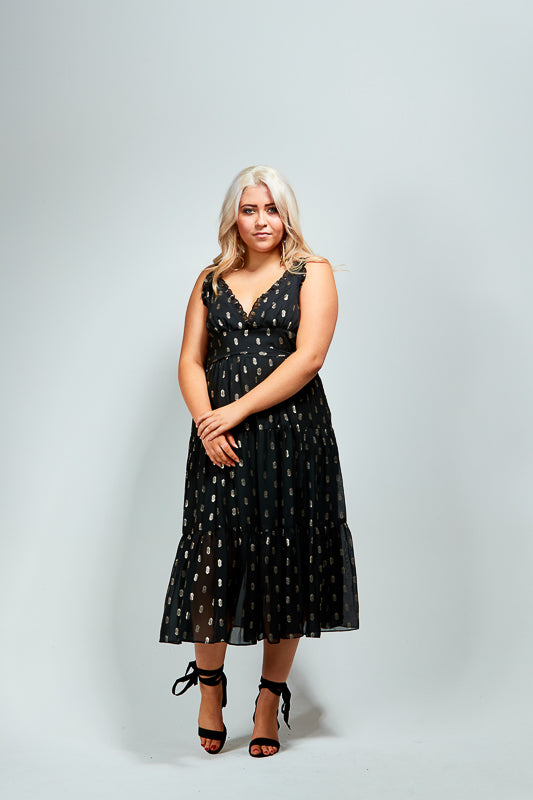 TILLY DRESS - BLACK / GOLD