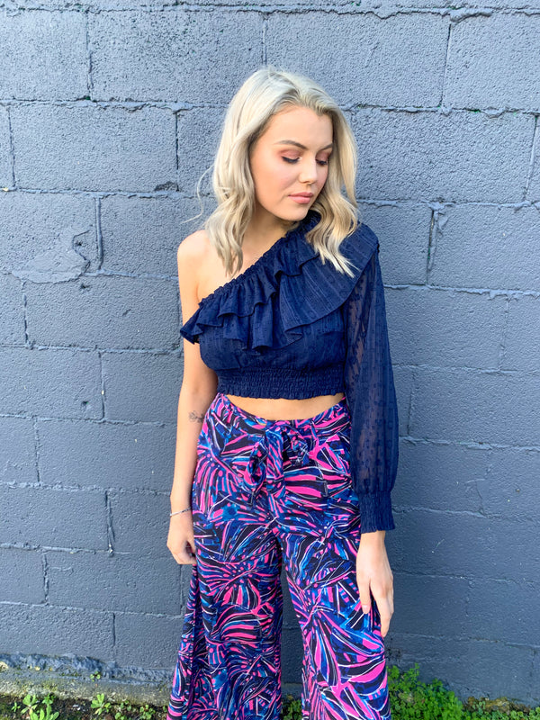 GIANNA CROP - NAVY BURNOUT