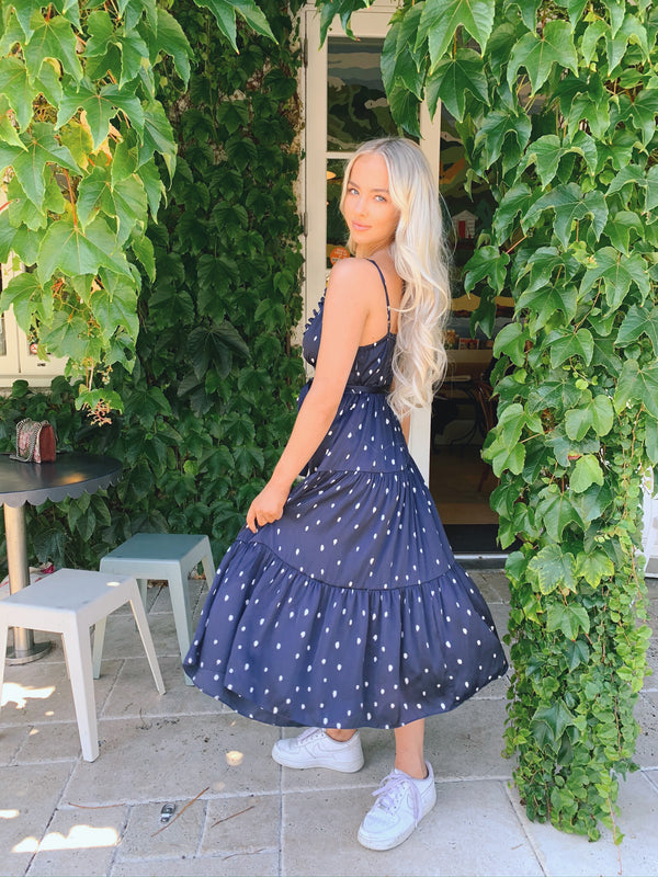 TILLY DRESS - NAVY SPOTS
