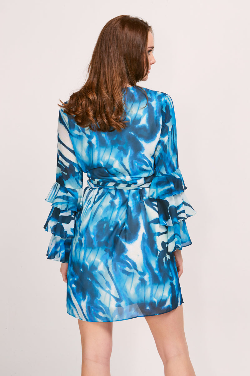 ARIEL WRAP DRESS - TIDE PRINT
