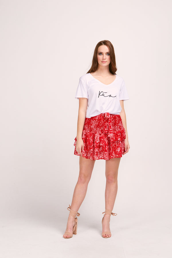 ARIEL SKIRT - RED BLOOM