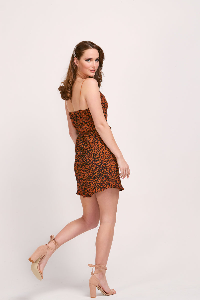 MELIA SLIP DRESS - LEOPARD