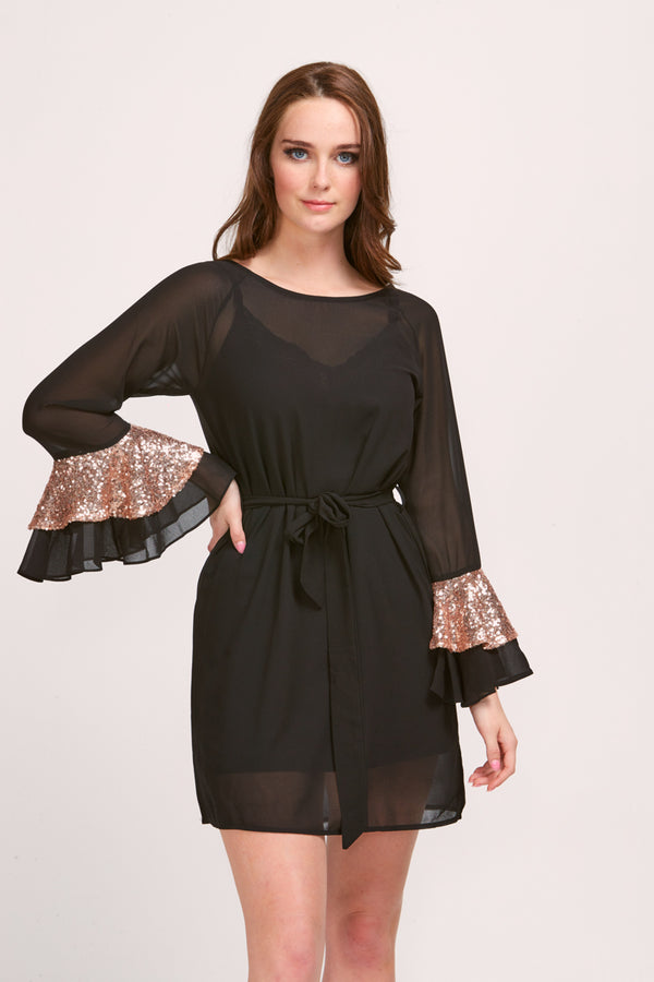 LILY DRESS - BLACK / GOLD