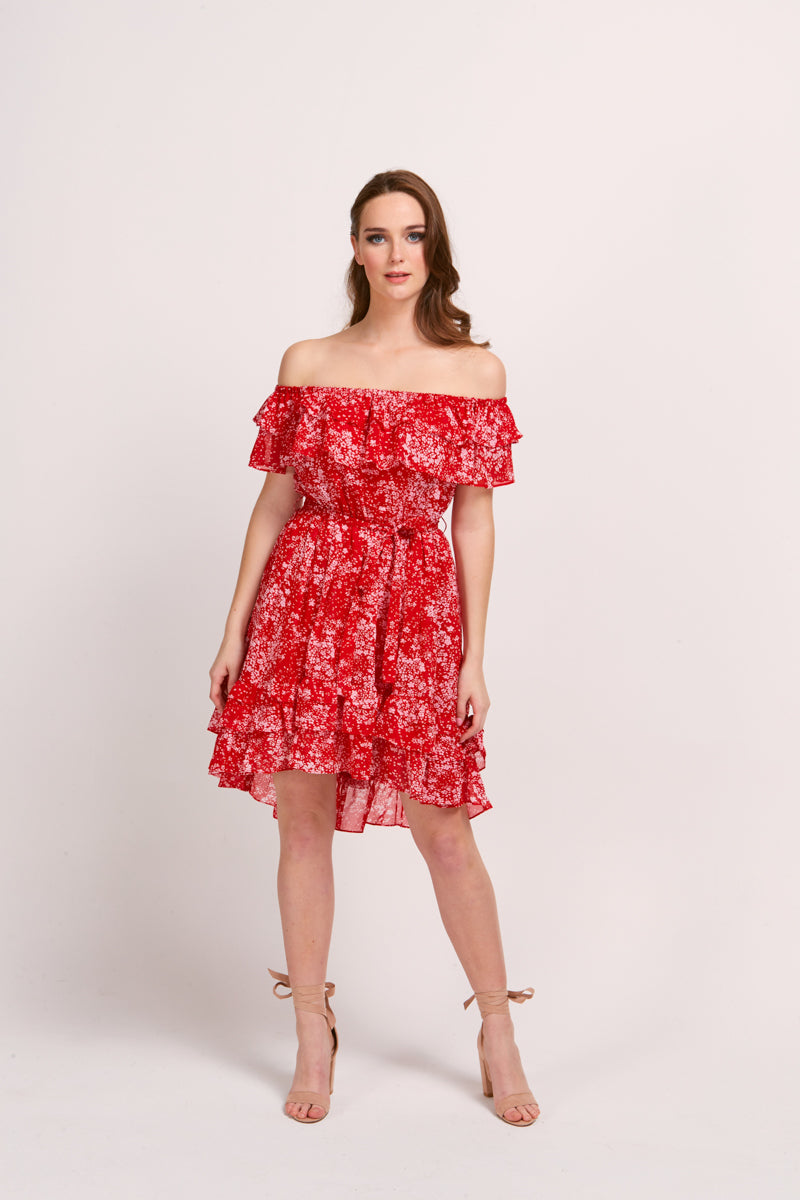 VERONICA DRESS - RED BLOOM