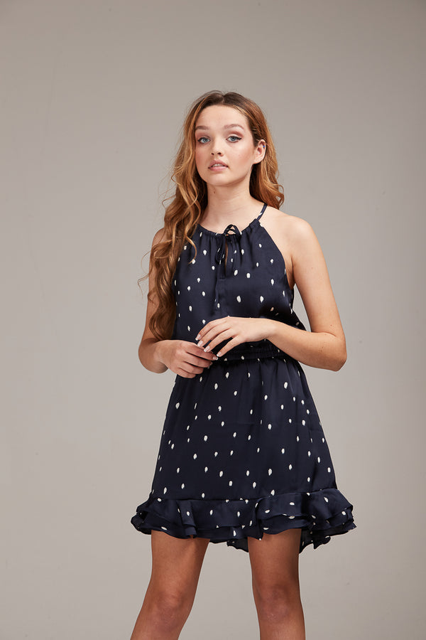 DELILAH DRESS - NAVY SPOTS