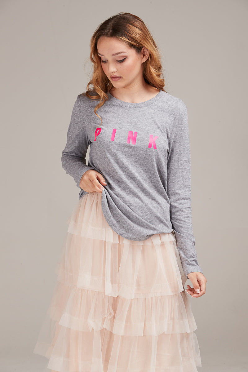 SASKIA LONG SLEEVE TEE GREY - PINK