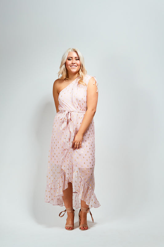 CORA DRESS - BLUSH / GOLD