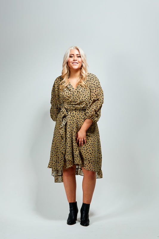 ADDI WRAP DRESS - KHAKI ANIMAL