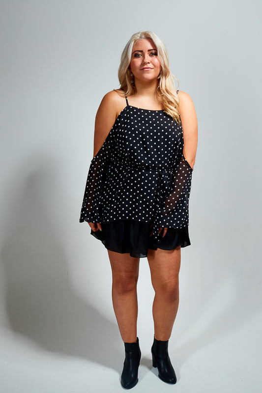 AMAIA TOP - BLACK POLKADOTTS
