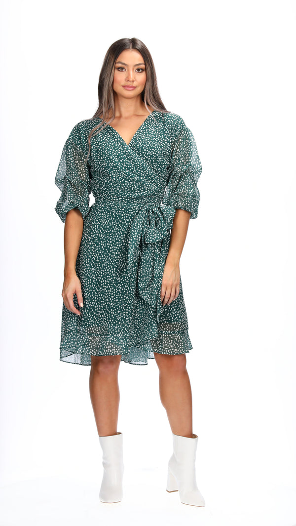 ADDI WRAP DRESS - EMERALD SPOTS