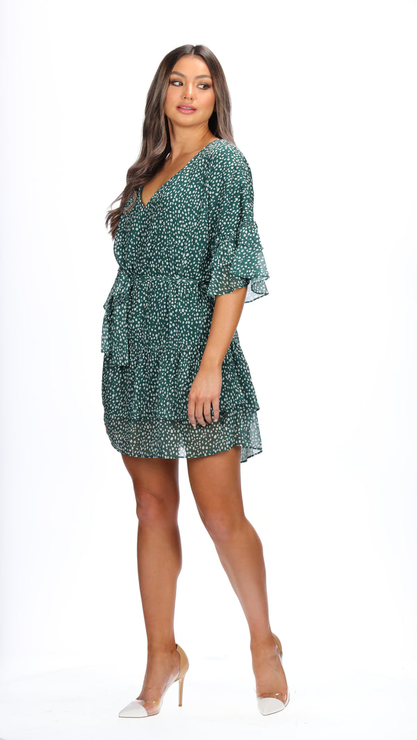 ESME DRESS - EMERALD SPOTS