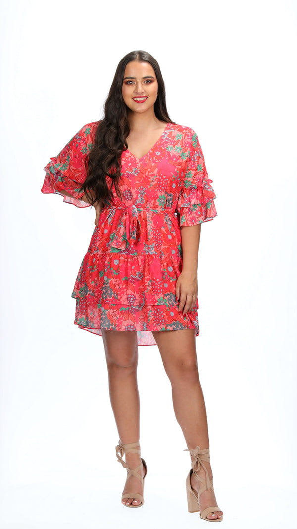 ESME DRESS - PEACH BLOOMS