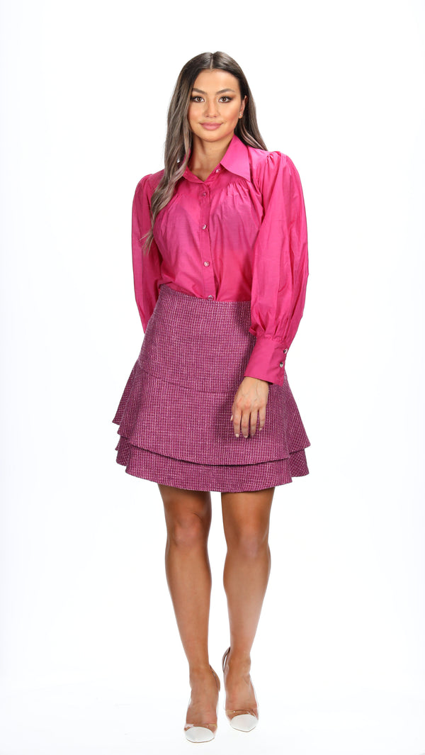HAISLEY SKIRT - MAGENTA TWEED