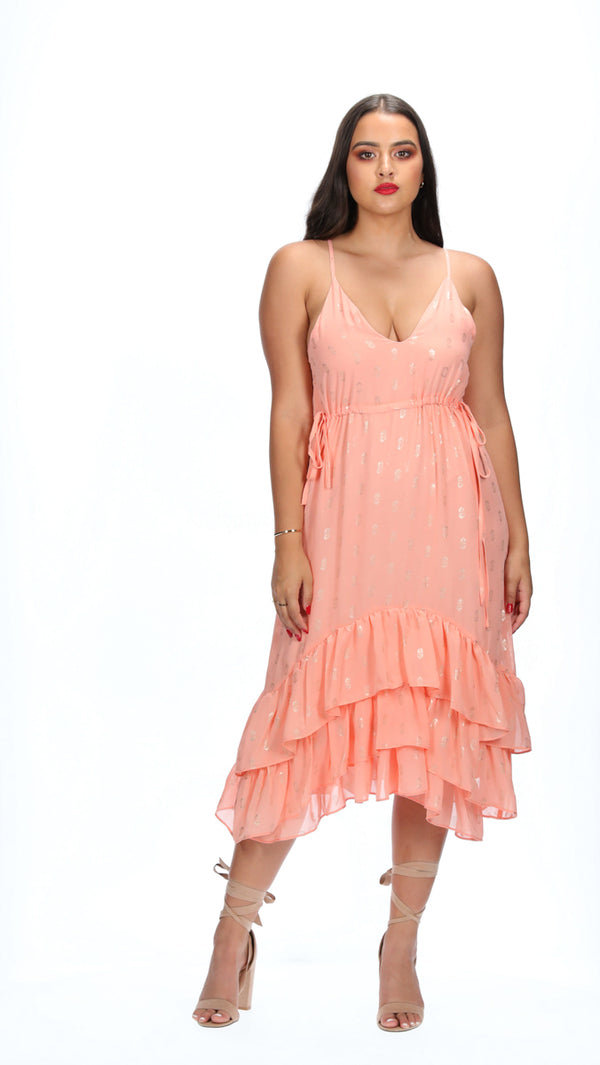 JAYLA DRESS - PEACH/SILVER