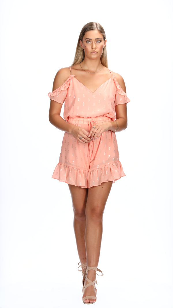 KAIA PLAYSUIT - PEACH/SILVER