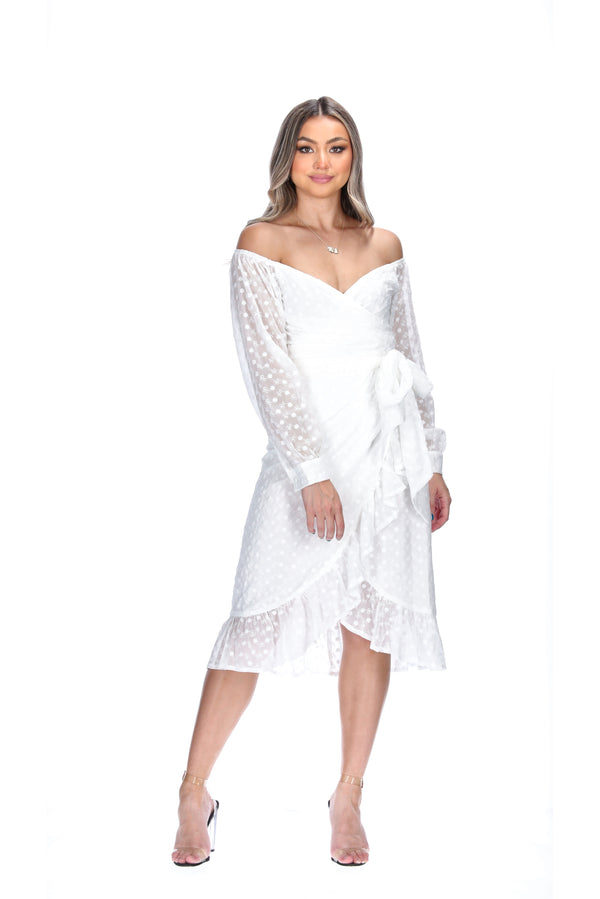 KIMBERLY WRAP DRESS - WHITE EMBROIDERED