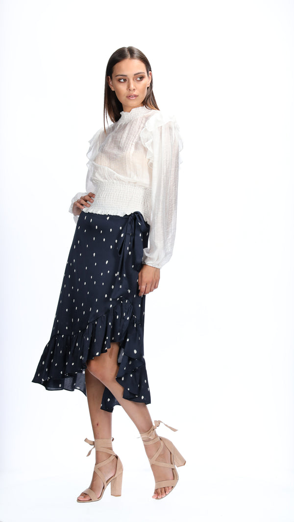 LEAH SKIRT - NAVY SPOTS