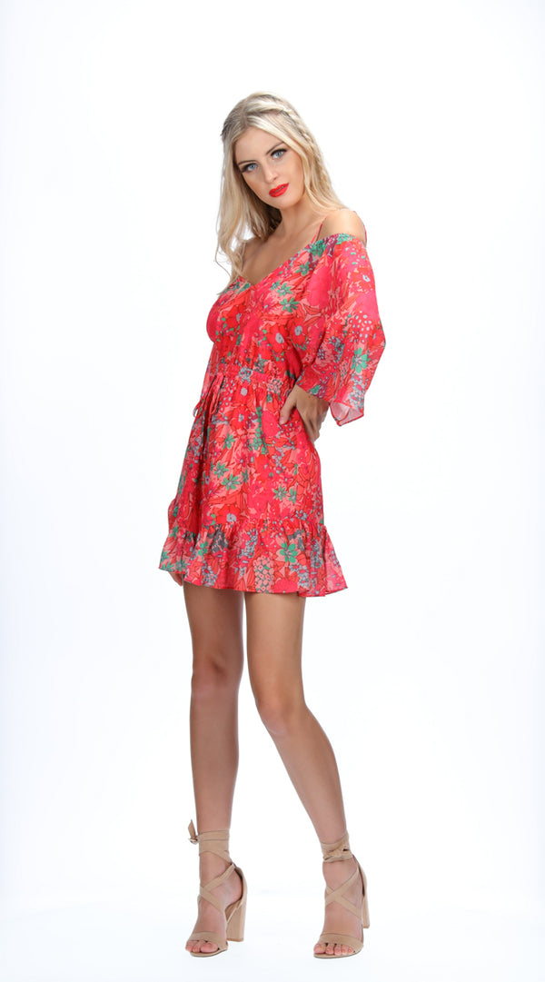 LEIA PLAYSUIT - PEACH BLOOMS