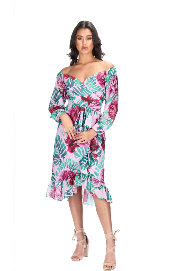 KIMBERLY WRAP DRESS - JUNGLE PALM