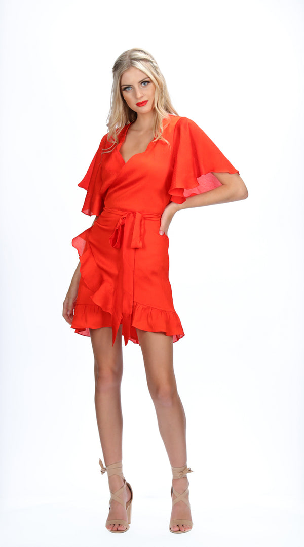 MALI WRAP DRESS - RED
