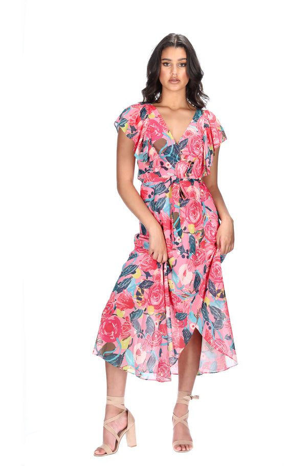 MARIA WRAP DRESS - PEACH BOUQUET