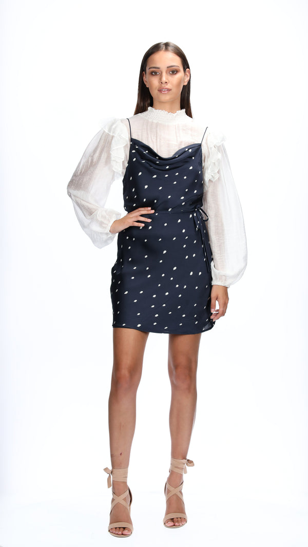 MELIA SLIP DRESS - NAVY SPOTS