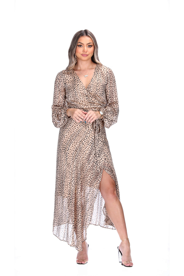 MELISSA WRAP DRESS - CHEETAH SPOTS