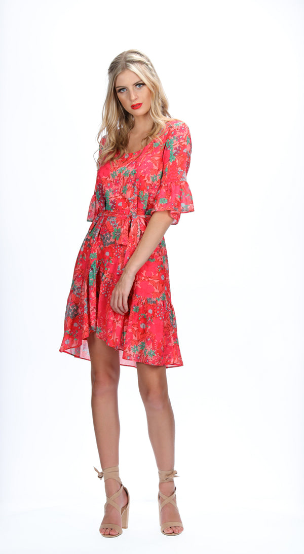 MILA DRESS - PEACH BLOOMS