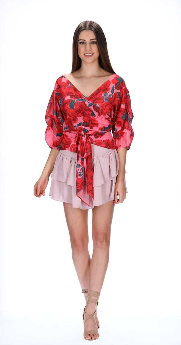 ADDI WRAP TOP - ROSE BLOOM