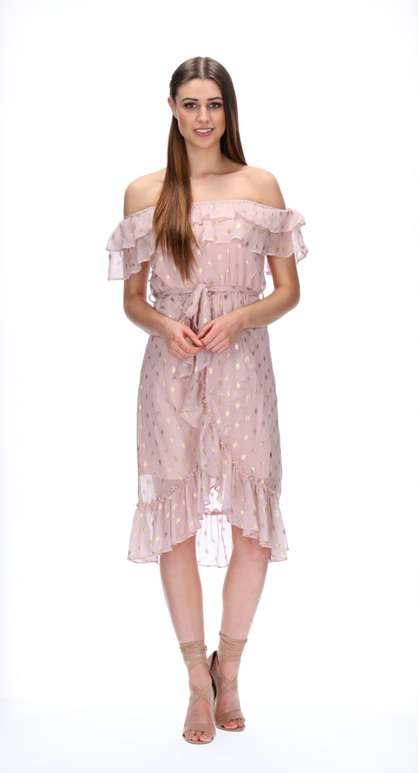 EVIE DRESS - PALE PINK/ GOLD