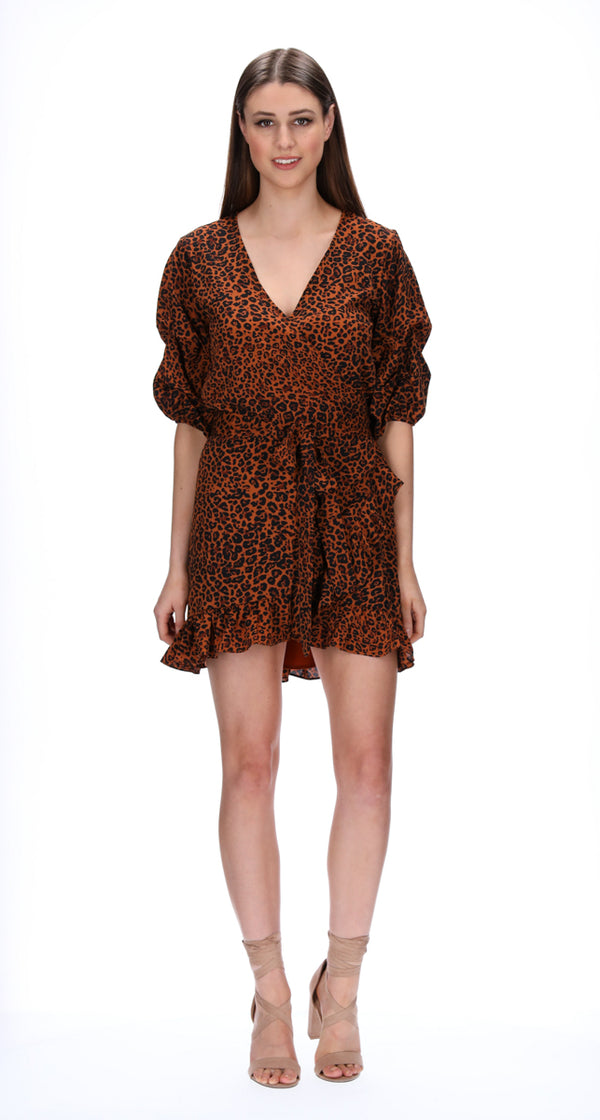 JORDYN WRAP DRESS - LEOPARD