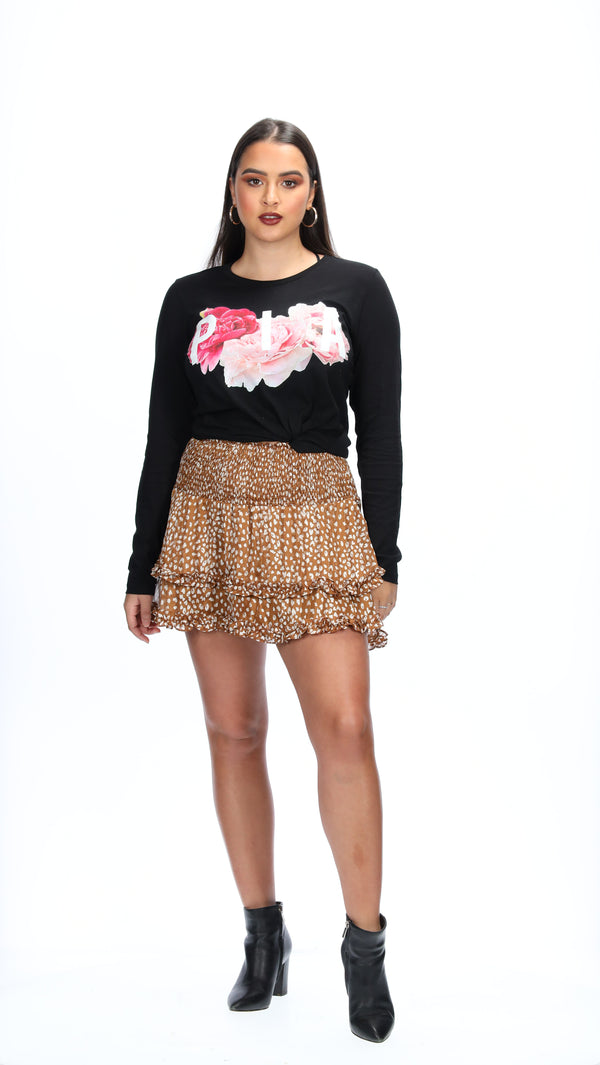 SASKIA LONG SLEEVE TEE BLACK - PIA FLORAL