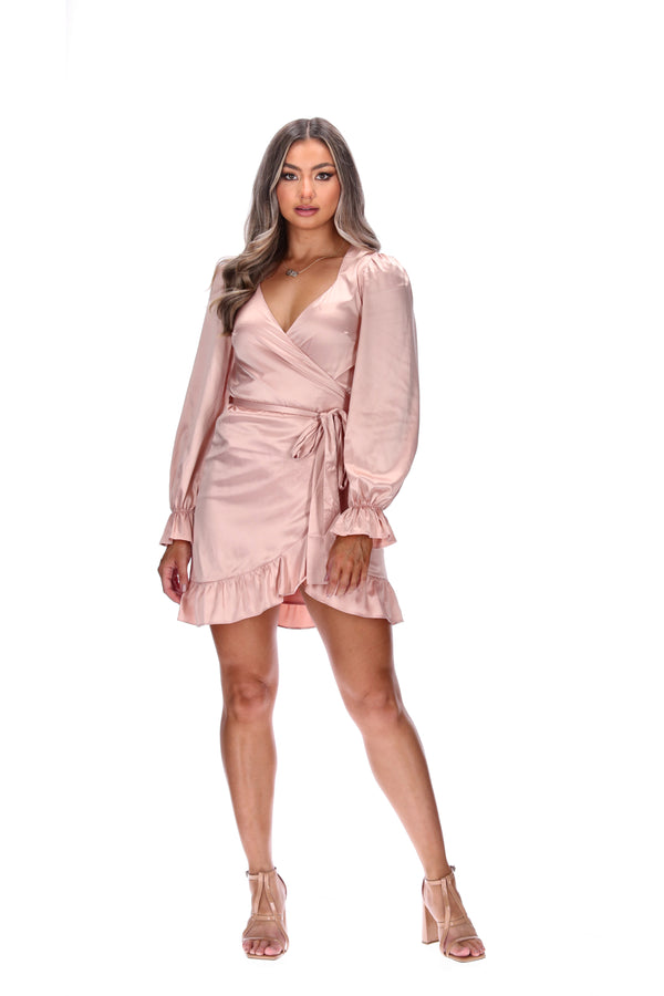 WILLOW WRAP DRESS - BLUSH