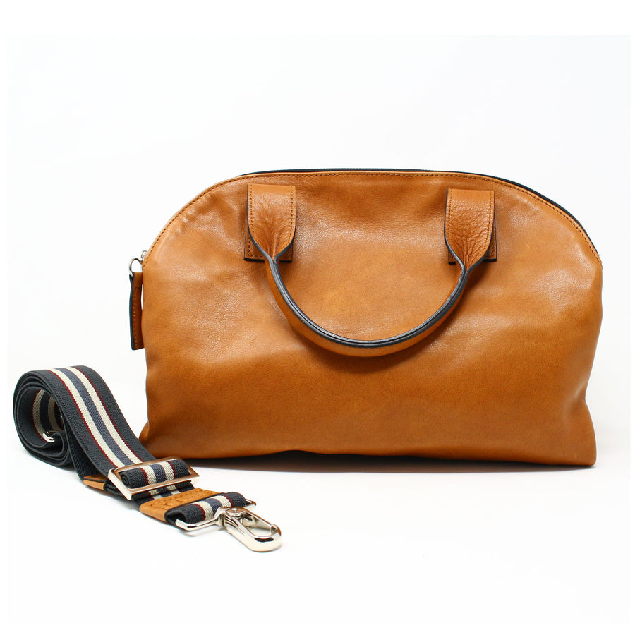 Leather Bag  Mini Professionale color cognac handmade with an elastic shoulder strap