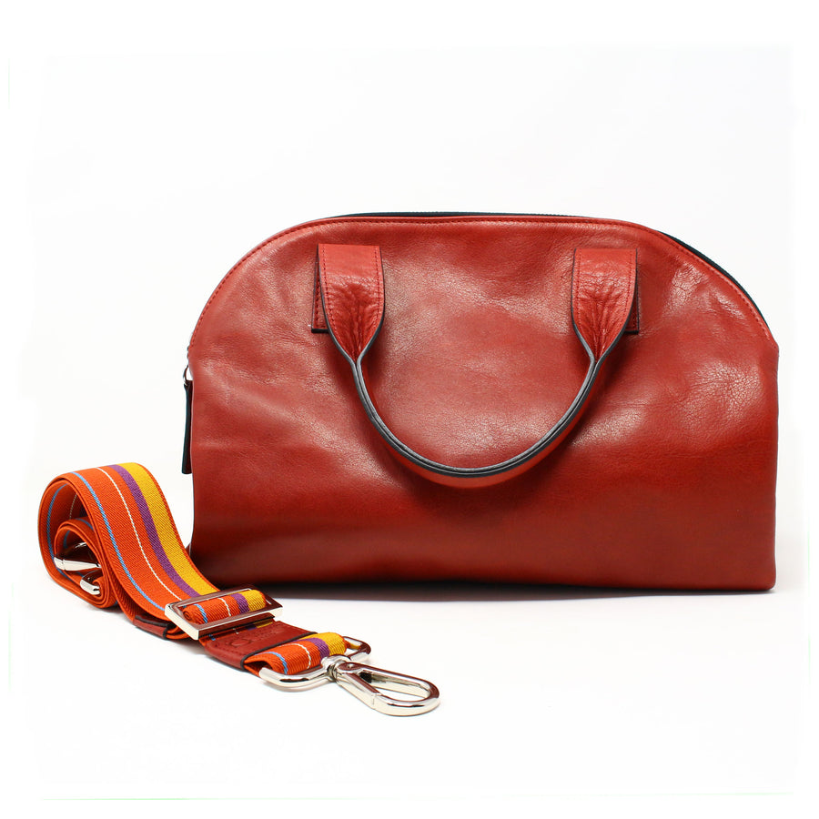 Leather Bag  Mini Professionale color rubino handmade with an elastic shoulder strap