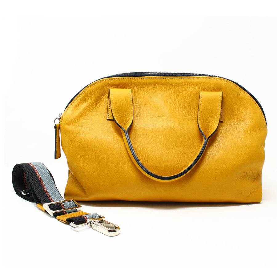 Leather Bag  Mini Professionale color topazio handmade with an elastic shoulder strap