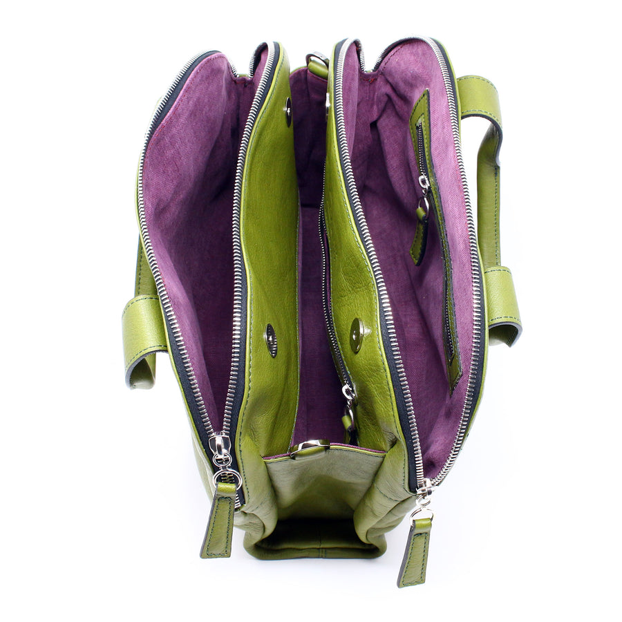 Leather Bag  Mini Professionale color verde oliva handmade with an elastic shoulder strap