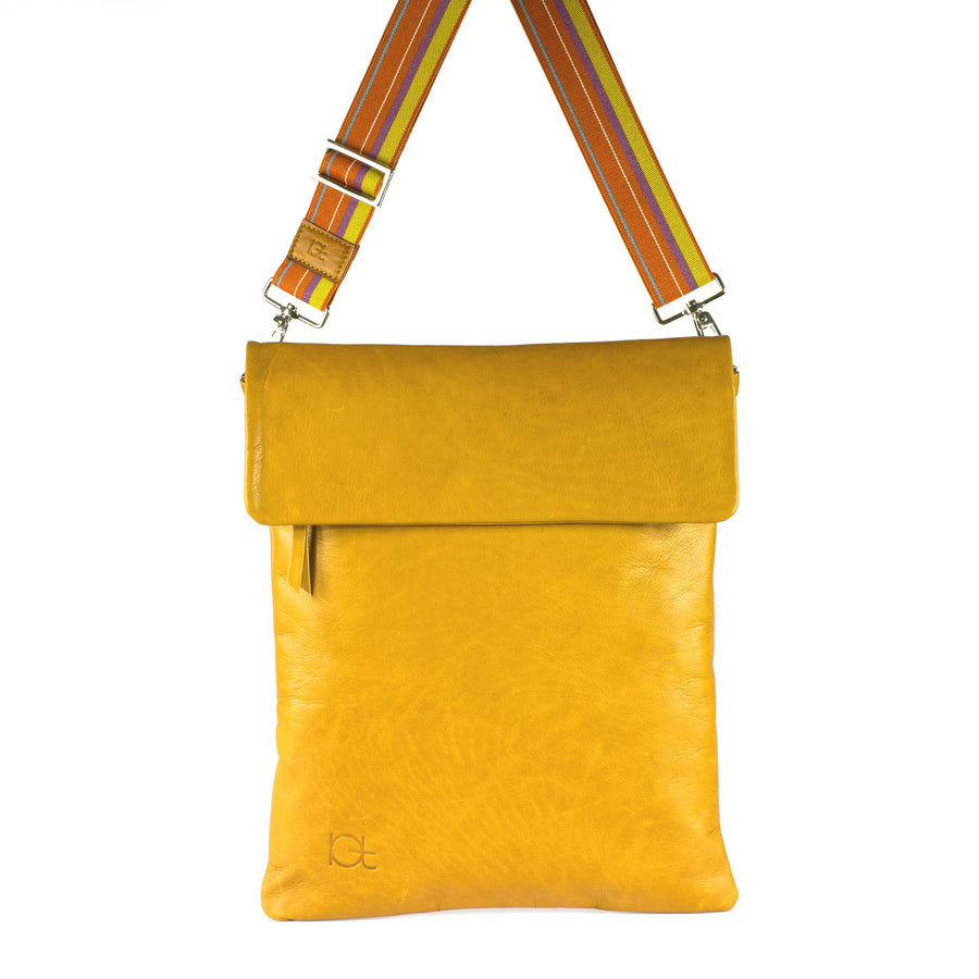 Leather Bag  Borsa Zaino topazio handmade with an elastic shoulder strap
