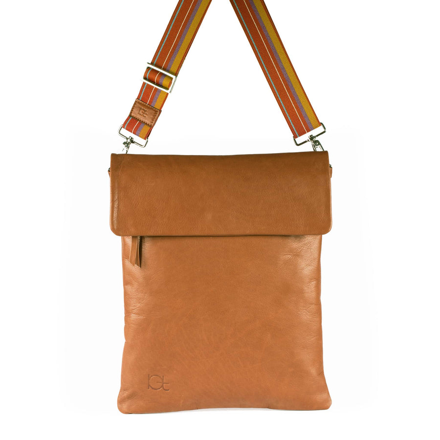 Leather Bag  Borsa Zaino cognac handmade with an elastic shoulder strap
