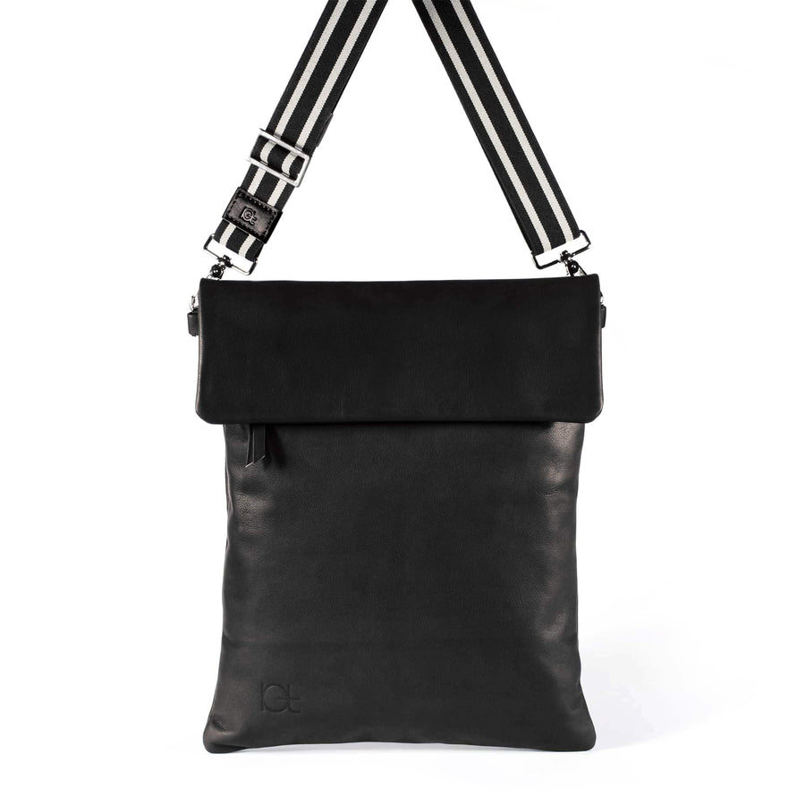 Leather Bag  Borsa Zaino black handmade with an elastic shoulder strap